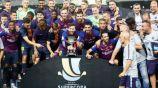 Barcelona celebra tras ganar la Supercopa de España 2018