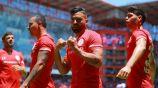 Jugadores del Toluca celebran una anotación