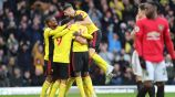 Jugadores del Watford celebran gol contra Manchester United