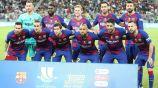 Jugadores del Barcelona previo a un partido