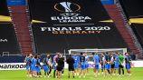 La plantilla del Getafe se entrena antes del juego contra el Inter