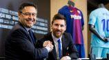 Messi y Bartomeu en conferencia de prensa