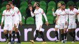 Jugadores del Sevilla durante un duelo de Champions