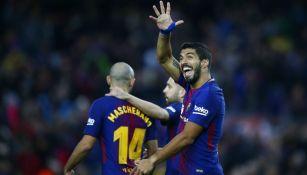 Luis Suárez festeja anotación contra el Levante