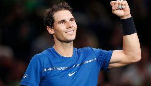 Rafael Nadal tras una victoria en el Masters de París de 2017