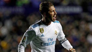 Sergio Ramos celebra en juego del Real Madrid