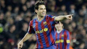 Márquez celebra una anotación con el Barcelona en La Liga