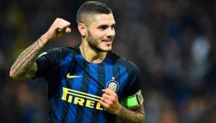 Mauro Icardi festeja un gol con el Inter
