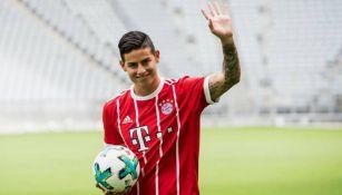 James Rodríguez durante su presentación con el Bayern Munich