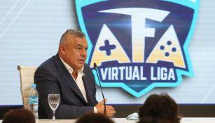 El presidente de la AFA, Claudio Tapia, durante la presentación de la Virtual Liga