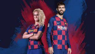 Hamraoui Y Piqué con el nuevo jersey del Barcelona