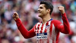 Morata celebra una anotación con el Atlético en España