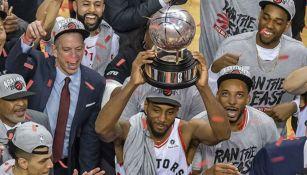 Kawhi Leonard tras ganar el título de NBA