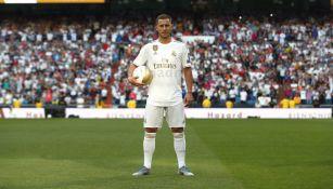 Eden Hazard durante su presentación con el Real Madrid