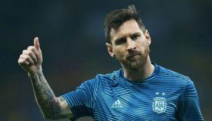Lionel Messi entrenando con Argentina en la Copa América de Brasil 2019