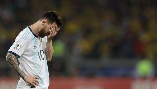 Lionel Messi en el partido contra Brasil