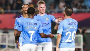 Jugadores del Manchester City celebran su victoria en el partido ante West Ham United