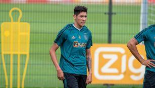 Edson Álvarez, en un entrenamiento del Ajax