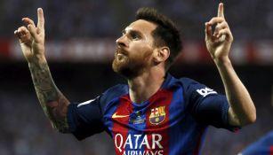 Lionel Messi celebra un gol con el Barcelona