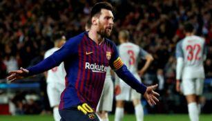 Messi festeja su gol vs Liverpool en la Champions
