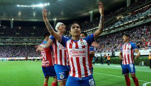 Chofis celebra su gol, que abrió el camino del triunfo ante San Luis