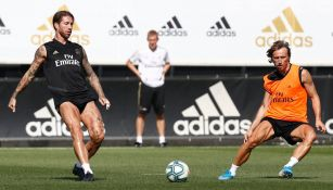 Sergio Ramos, durante un entrenamiento con el Real Madrid