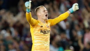 Ter Stegen celebra la goleada del Barça ante Sevilla