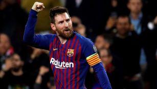 Lio Messi celebra una anotación con el Barcelona