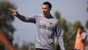 Zlatan Ibrahimovic en un entrenamiento con el Galaxy