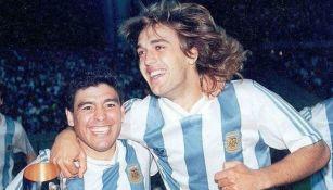 Maradona y Batistuta celebrando