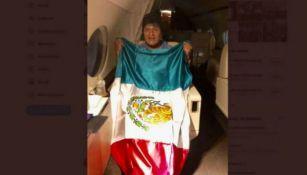 Evo Morales a bordo del avión de la Fuerza Aérea mexicana