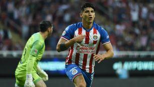 Alan Pulido celebrando un gol ante Querétaro