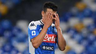 Lozano, en lamento durante partido del Napoli