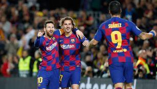 Messi, Griezmann y Suárez en el festejo de gol
