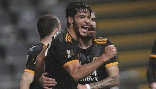 Raúl festeja su anotación ante el Sporting Braga