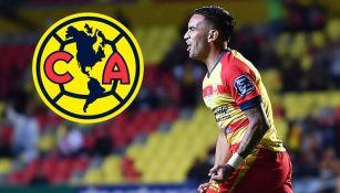 Sebastián Vegas festeja un gol con Morelia