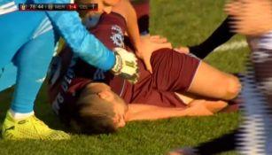 Néstor Araujo adolorido en el Mérida vs Celta de Vigo