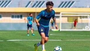 Leo Suárez en un entrenamiento con Villareal