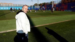 Andrés Iniesta durante el entrenamiento del Barcelona