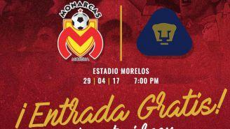 Las entradas para el partido contra Pumas serán gratis