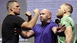 Diaz y McGregor durante su careo previo al UFC 202
