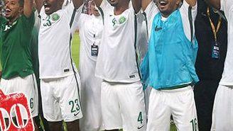 Jugadores de Arabia Saudita festejan el pase al Mundial