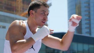 Golovkin realiza un entrenamiento de boxeo al aire libre