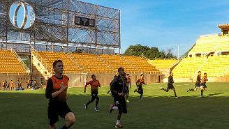 El estadio Tecnológico de Oaxaca en un entrenamiento de los Alebrijes