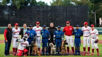 Diablos Rojos junto con los perros rescatistas en el Fray Nano