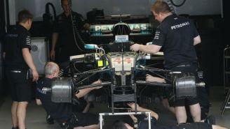 Escudería de Mercedes, durante el GP de Brasil