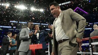 Oscar de la Hoya durante una pelea en Las Vegas