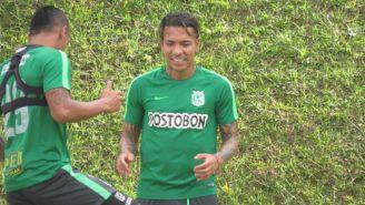 Dayro Moreno, durante un entrenamiento con Nacional