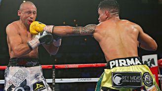 Siri Salido recibe un gol de Miguel Román durante su pelea en Las Vegas