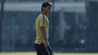 Matías Alustiza en un entrenamiento de Pumas